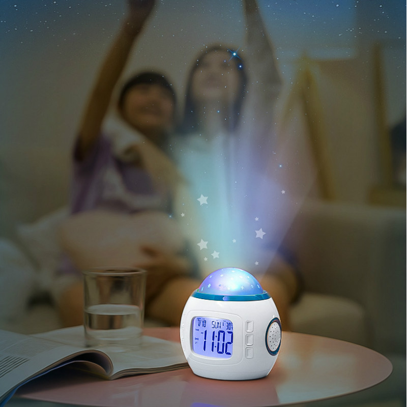 Glow In The Dark Toys Music Alarm Clock Calendar Creative Multi-funciton Stars Sky Projector Light Up Alarm Toy Noctilucent Toys