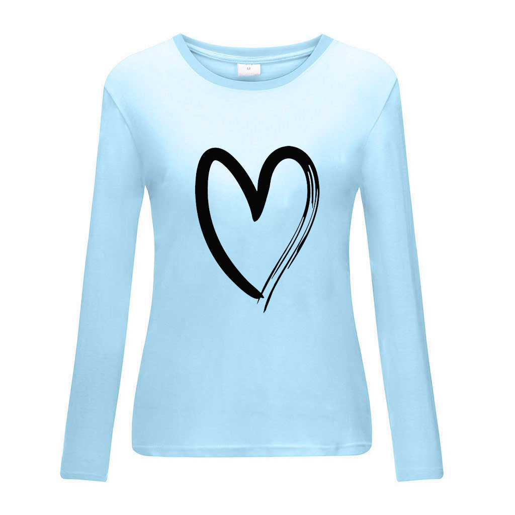 Women Love Heart Print Blouse O Neck Long Sleeve Casual Shirts Female Plus Size Loose Top Blusas Mujer #YJ