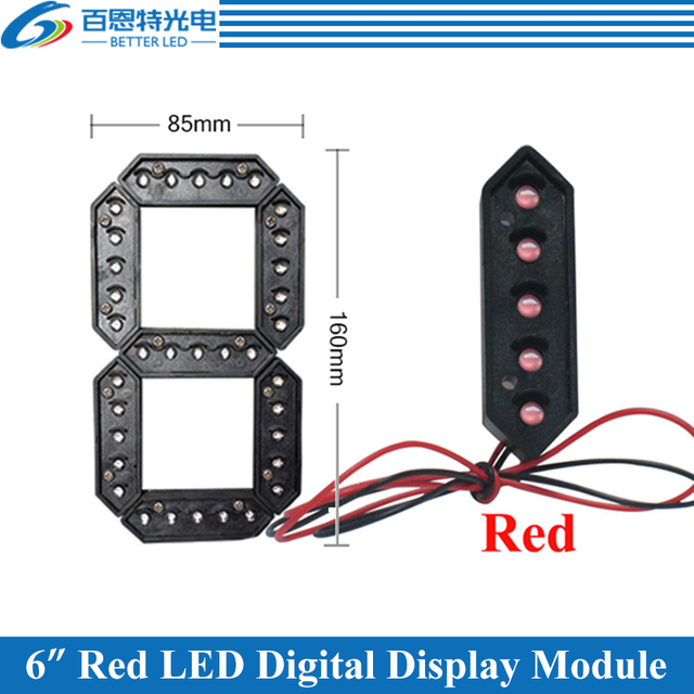 """10pcs/lot 6"""" Red Color Outdoor 7 Seven Segment LED Digital Number Module for Gas Price LED Display module"""