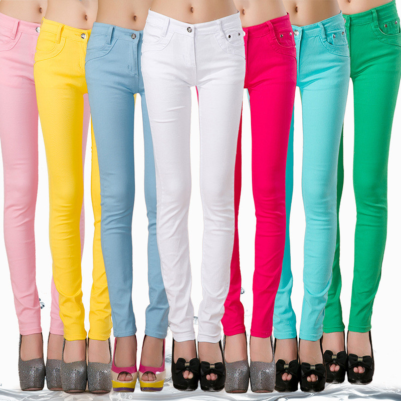 FSDKFAA Women Plus Size Stretch Jeans Koreans Skinny Small-leg Jeans Casual Pencil Pants Candy Color Black Stacked Slim Leggings