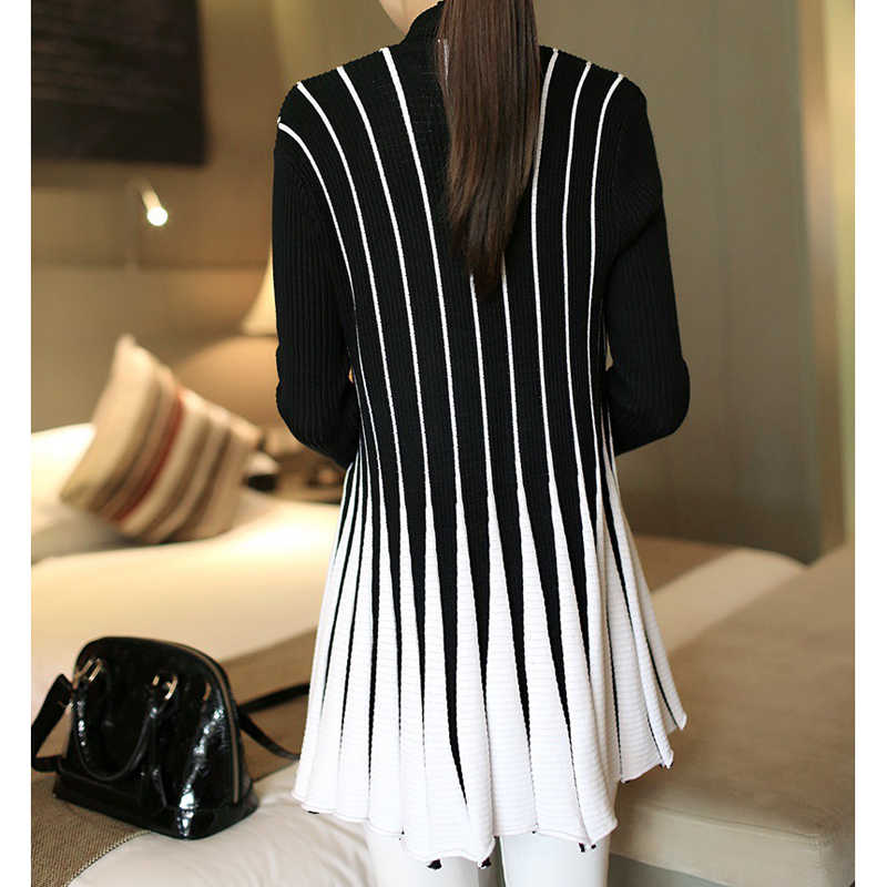 autumn winter 2019 women poncho Women Cardigan Stripes Print Long Sleeve Women's Knitting Slim Thin Sweater sueter mujer CP103