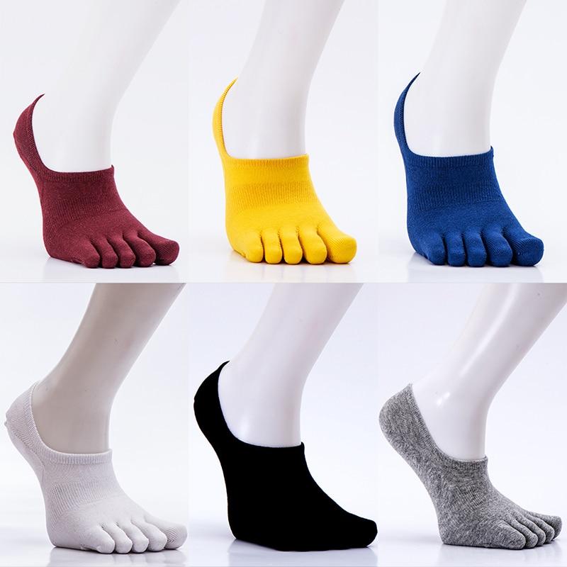 1 Pair Unisex Solid Color Cotton Blend Five Finger Toe Socks Spring Men Women Casual Cotton Polyester Soft Socks One Size