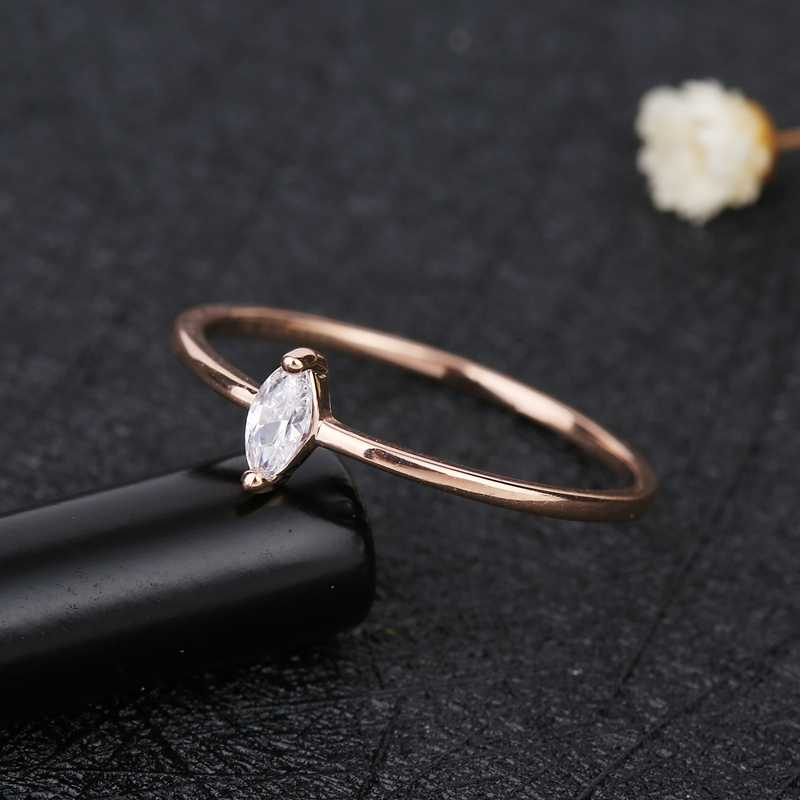 MIGGA Marquise coupe AAA cubique Zircon Bague pour les femmes couleur or Rose Bague en pierre CZ cadeau bijoux