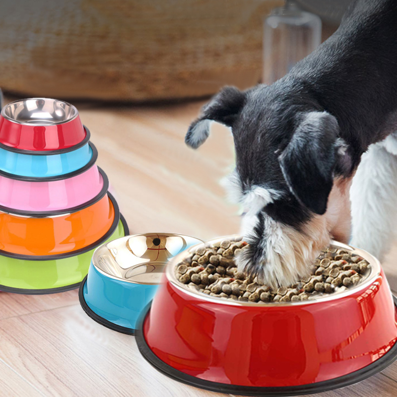 New Clean Healthy Dog Cat Bowls Heavy Stainless Steel Travel Footprint Feeding Feeder Water Bowl For Pet Puppy Outdoor Food Dish