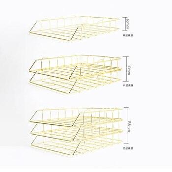 Moda Yaratıcı Ins Altın Metal Dosya Tepsisi Dergi Organizatör Masası Seti El Yapımı Overlayable Dosya Düzenleyici Katmanlı