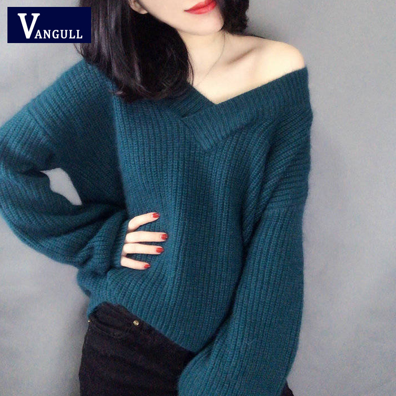 Vangull Women Solid V Neck Sweater 2019 Autumn Winter Long Sleeve Pullovers Sexy Basic Knitted Thick Warm Jumper Stretch Female
