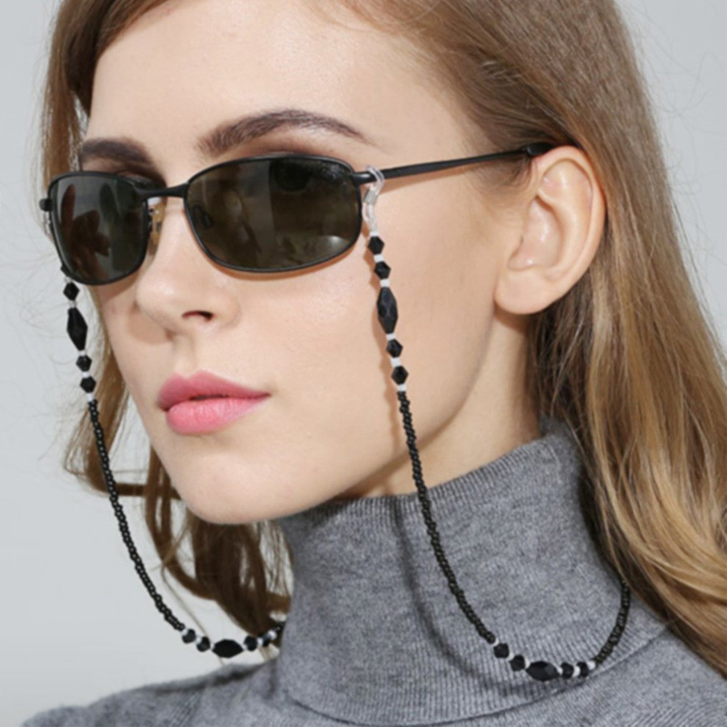 1 шт., 2020, модные женские цепочки для очков, черные акриловые бусины, цепи, противоскользящий шнур для очков, держатель, шейный ремешок, веревка для очков для чтения|Очки аксессуары| | - AliExpress