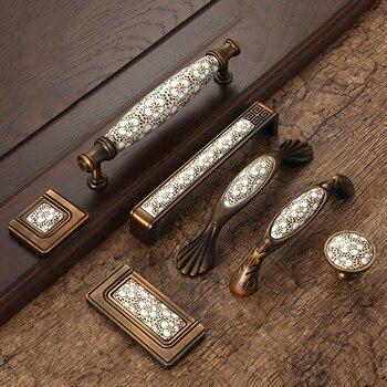 Antique Bronze Ceramic Cabinet Handles Vintage Drawer Knobs Wardrobe Door European Furniture Handle Hardware