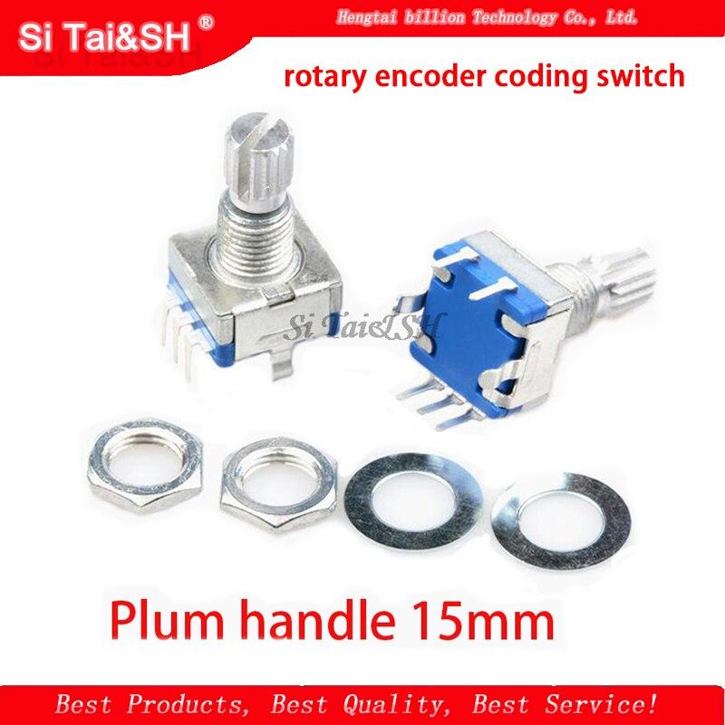 2 pièces prune poignée 15mm codeur rotatif commutateur de codage/EC11/potentiomètre numérique avec interrupteur 5 broches