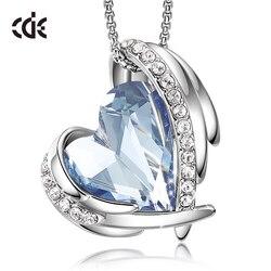 Cde moda coração anjo asa pingente colar para mulher cristais de swarovski colar festa de casamento jóias decorações presente