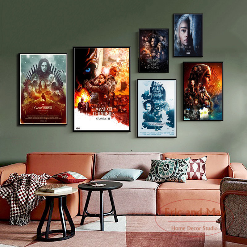 Game of Thrones Season 8 Hot Classic TV Series Art Painting Vintage Canvas Poster Wall Home Decor image