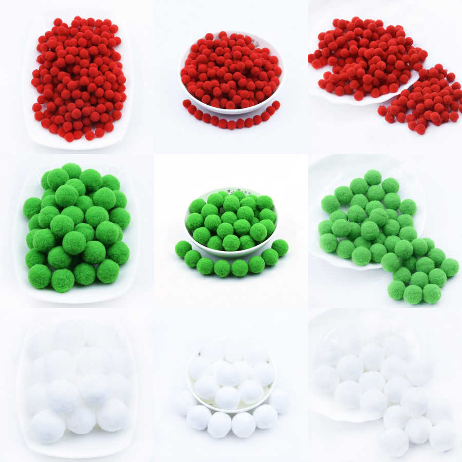 8mm-30mm Pompoms Balls White Red Green for DIY Party Home Garden Wedding Decoration Garment Sewing Kids Toys Accessories