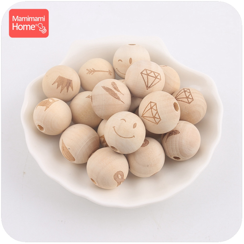 Mamihome 10pc 20mm Wooden Printing Bead Baby Teether Diy For Nursing Necklace BPA Free Wooden Blank Rodent Children'S Goods Toys