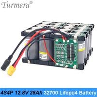 Turmera 32700 lifepo4 bateria 4s4p 12.8 v 28ah com 4S 40a equilibrada bms para barco elétrico e fonte de alimentação ininterrupta 12 v