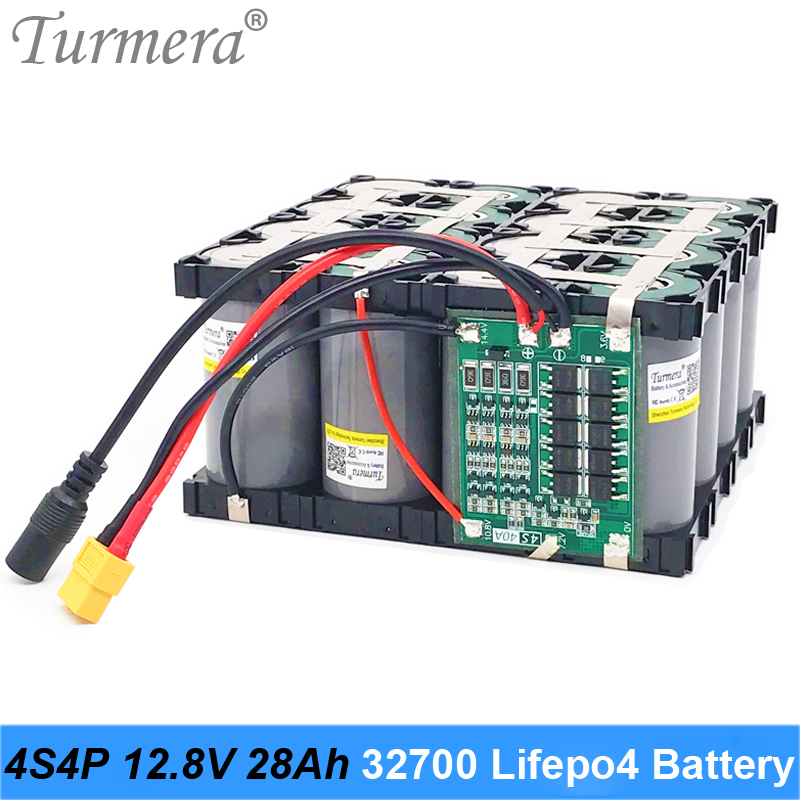 Turmera <font><b>32700</b></font> Lifepo4 <font><b>Battery</b></font> <font><b>Pack</b></font> 4S4P 12.8V 28Ah with 4S 40A Balanced BMS for Electric Boat and Uninterrupted Power Supply 12V image