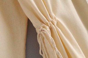 Image 4 - Женская винтажная блузка с кисточками, богемная пляжная блузка с цветочной вышивкой, кимоно с длинным рукавом, свободные рубашки в стиле бохо