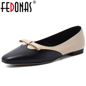 FEDONAS Butterfly Knot Mixed Colors Genuine Leather Women Pumps 2020 Spring Shallow Low Heels Basic Office Party Shoes Woman