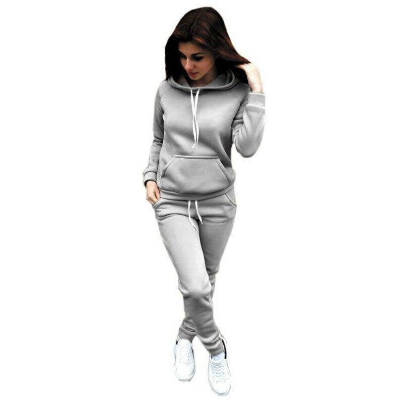 Women's 2Pcs Tracksuit 2019 New Fashion Autumn Winter Hoodies Sports Tops Pants Tracksuit Sweatshirt Sweat Suit Jogging Set