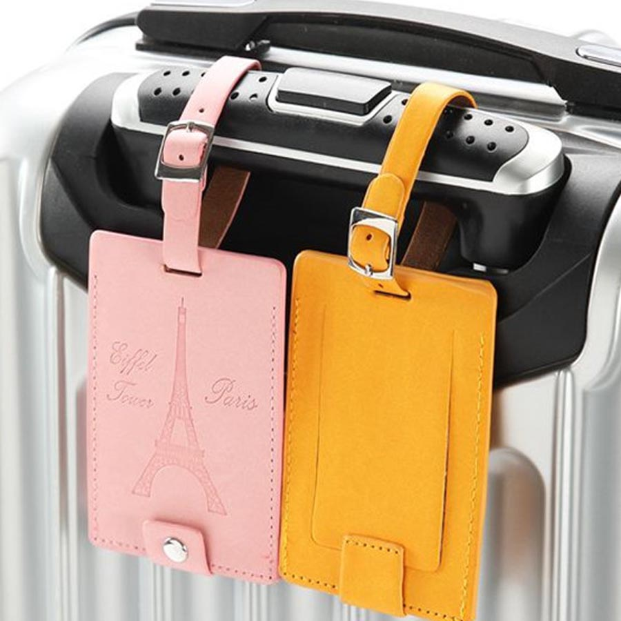 2 Pcs/lot Couple Lover Eiffel Tower PU Leather Solid Luggage Tag Label Bag For Travel Accessories Name ID Address Tags LT07