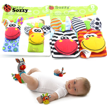 40pcs/lot Baby Rattle Toys Sozzy Garden Bug Wrist Rattle And Foot Socks 4 Style (2pcs Waist+2pcs Socks) 10Set