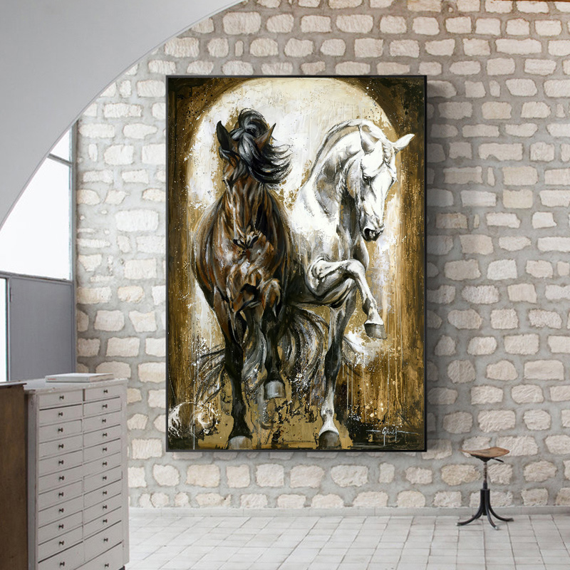 Vintage Horses Canvas Painting Animals Posters and Prints Oil Painting on Canvas Wall Art Pictures For Living Room Decoration