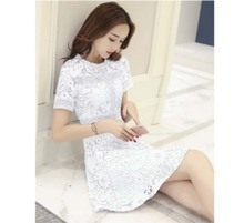 Flying ROC 2019 new fashion casual knee dress women sundresses short sleeve lace girls dresses