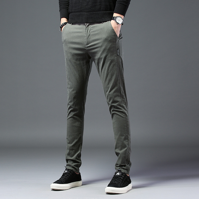 Fashion Pencil Pants Men Army Green Slim Fit Casual Pant Mens All-match Stretch Skinny Trousers Male Brand Clothes Black Gray Size 28-38