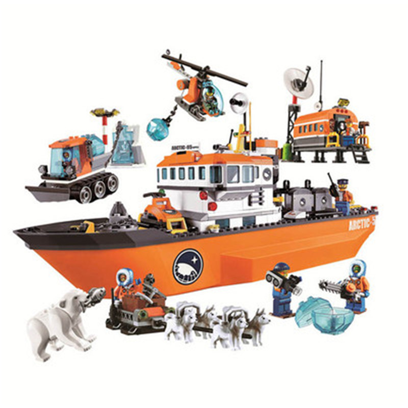 10443 Arctic Icebreaker Ice Breaker Ship Buildinlg Blocks Brick DIY Toys jail cell Bricks city building blocks toys for boy image
