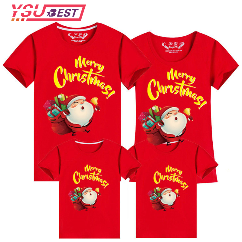 Christmas Family Clothing 2019 Santa Claus Style Kid Shirts Mommy And Me Clothes Mother Daughter Father Family Matching Outfits