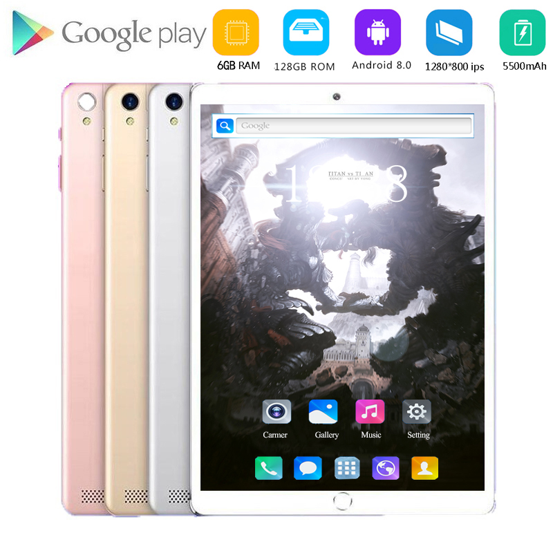 2020 New Tablet Pc 10.1 Inch Android 8.0 Tablets 6GB+128GB Octa Core 4G Phone Call IPS Pc Tablet WiFi GPS 10 Kids Tablets