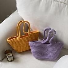 2021 Summer Fashion Handmade Straw Rope Woven Bag Ladies Casual Handbag Tote Bag Small Shopping Bag  Straw Bags for Women