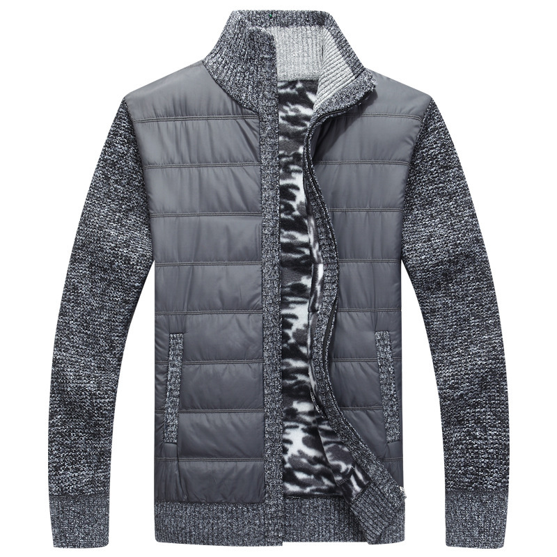 Winter Men's Fleece Sweater Coat Thick Patchwork Wool Cardigan Muscle Fit Knitted Jackets Fashionable Male Clothing For Autumn