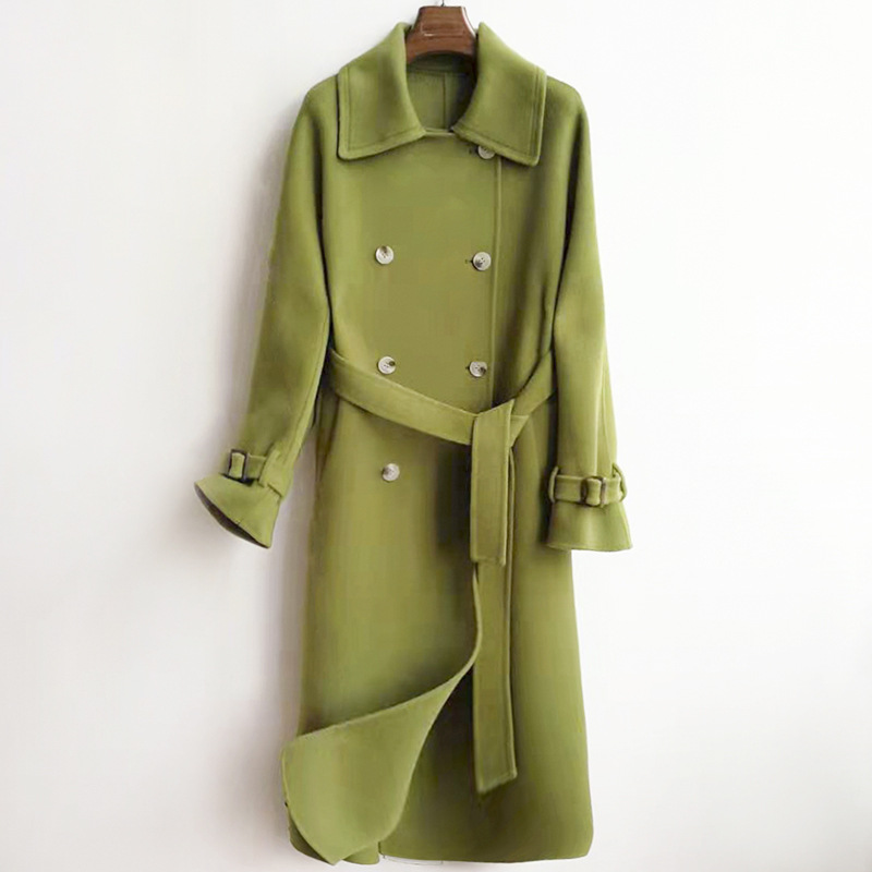 Winter 2019 New Korean Fashion Double-sided Woolen Overcoat Hand-sewn X-Long Lacing Belt Double-breasted Wool Coat Women