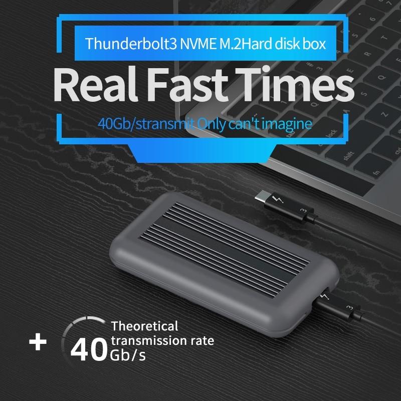 Корпус SSD Thunderbolt 3 M.2 NVME, алюминиевый корпус NVME для USB 3,1, 40 Гбит/с, M.2, PCIE, чехол SSD