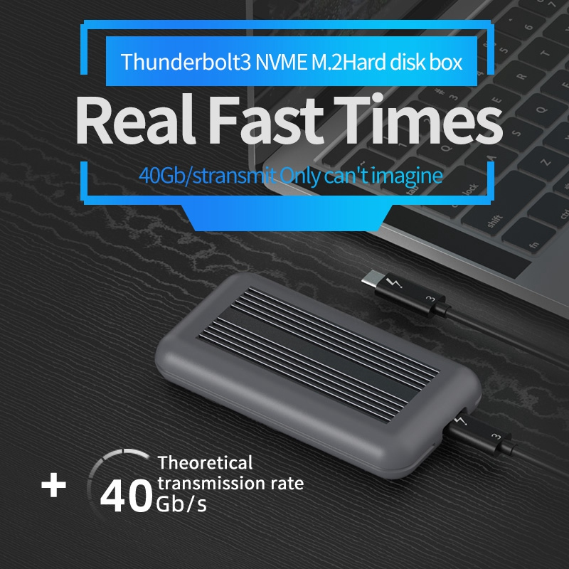Thunderbolt 3 M.2 NVME Enclosure SSD Box NVME to TYPE-C Aluminium USB 3.1 40Gbps M.2 PCIE SSD Case