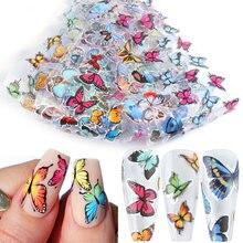 10 pz farfalla lamine per unghie adesivi olografici per unghie decalcomanie di arte cursori trasferimento involucri di carta Manicure decorazioni 3D TR8102