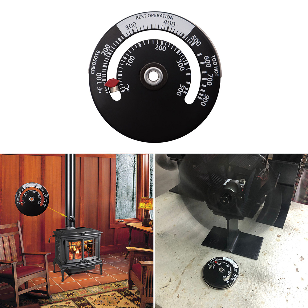 High Quality Fireplace Thermometer Wood Log Burning Stove Pipe Fire Flue Heater Aluminum Alloy Home Heat Powered Thermometer