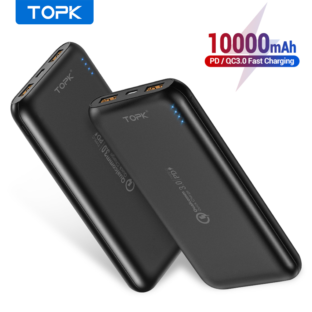 TOPK I1005P 10000mAh Power Bank 18W Quick Charge 3.0 Type C PD Fast Charging Powerbank External Battery Charger for Mobile Phone