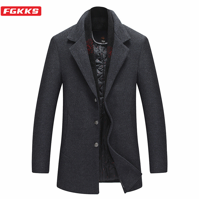FGKKS Winter Brand Men Wool Blend Coats Men's With Scarf High Quality Casual Woolen Coat Warm Thick Wool Overcoat Male