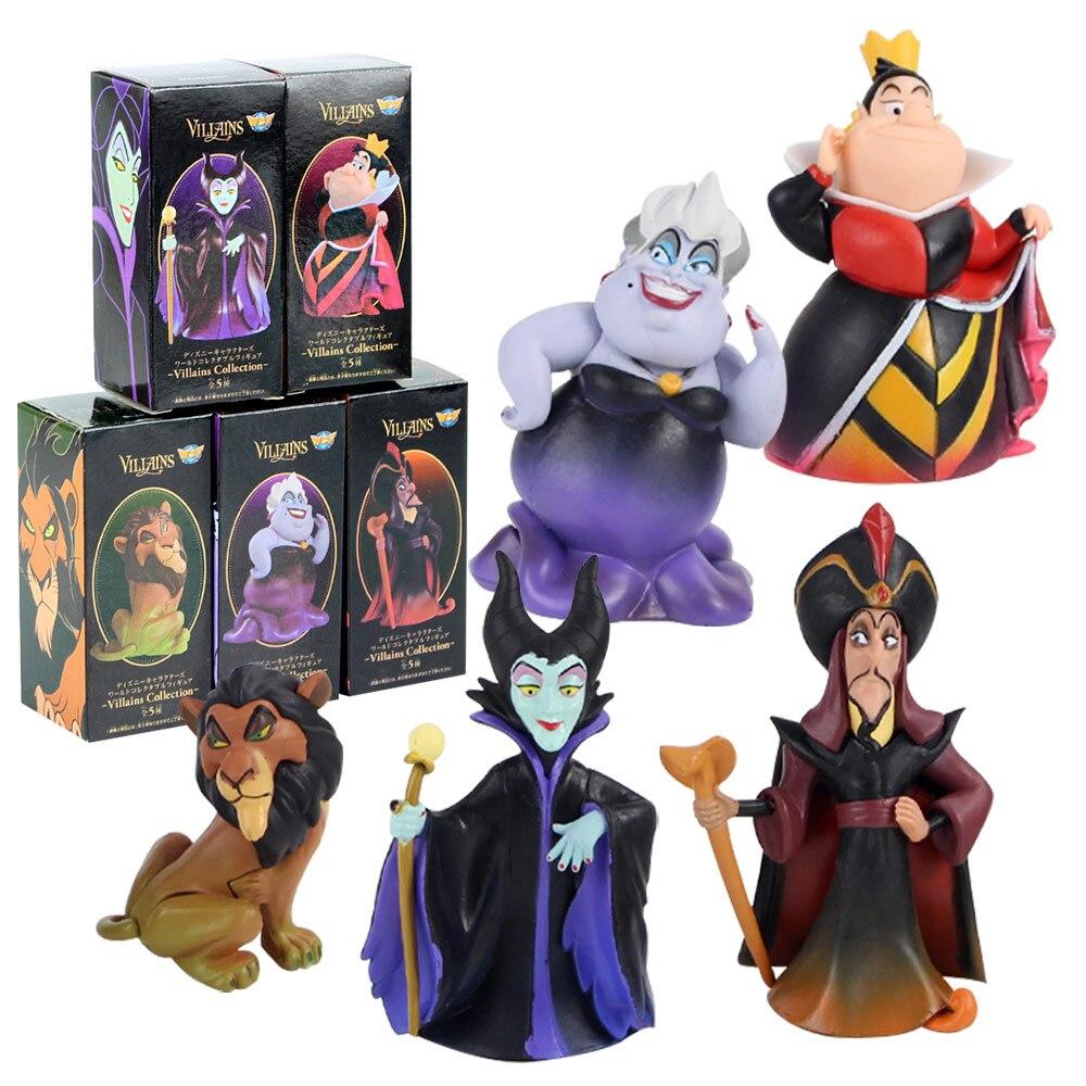 5 pçs/lote Figuras Princesa Rei Leão Maléfica Aladdin Genie Jafar A Pequena Sereia Ursula Rainha WCF Anime Brinquedos Modelo