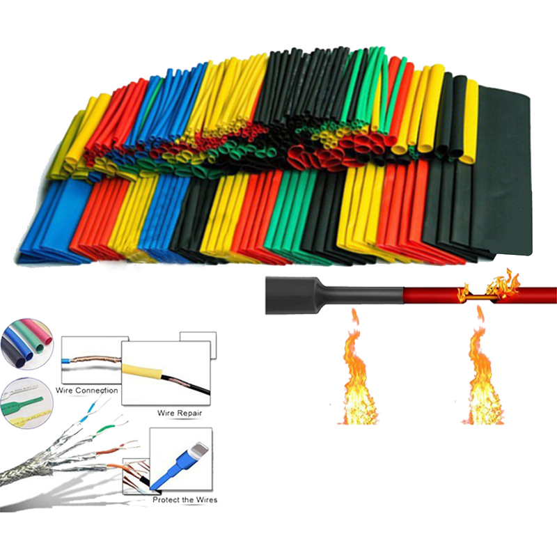 164pcs/Set Heat Shrink Tube Kit Insulation Sleeving Termoretractil Polyolefin Shrinking Assorted Heat Shrink Tubing Wire Cable