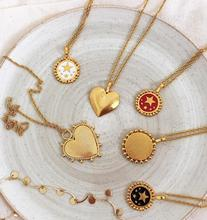 2020 New Red White Black Enamel Star Pattern Gold Coin Necklace For Women Ladies Heart Pendant Necklaces Jewelry Accessories cheap E B belle Zinc Alloy TRENDY Link Chain All Compatible Party 2 4cm Fashion N143