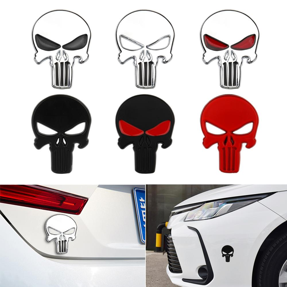 1pc Car Styling 3D Sun-proof Stickers Metal Punisher Skull Emblem Decal Badge Car Waterproof Sticker Auto Red Black Sliver