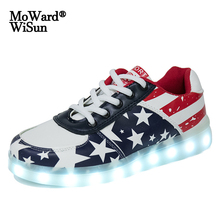 Glowing Sneakers Lights Led-Shoes Usb-Charging Girls Boys Kids Women Children Size