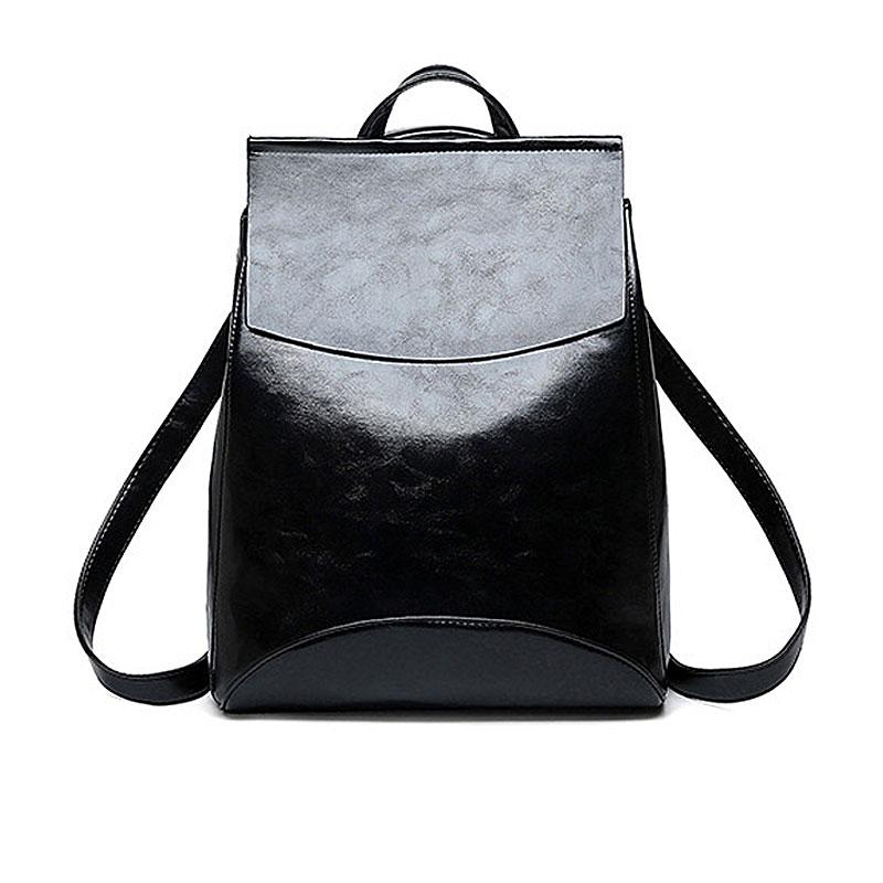 Backpacks Women Fashion Black PU Leather Women Bag  2019 Fashion Big Capacity Ladies Backpacks School Bag For Girl