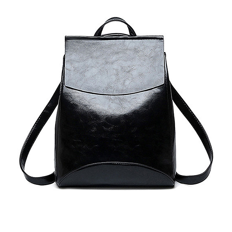 Backpacks Women Fashion Black Leather Women Bag  2019 Fashion Big Capacity Ladies Backpacks School Bag For Girl