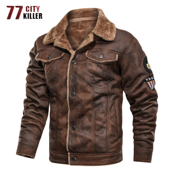 77City Killer Winter Military Jacket Men Thick Warm Suede Chamois Jackets Male Motorcycle Vintage Outwear chaqueta hombre S-3XL - discount item  53% OFF Coats & Jackets