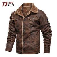 77City Killer chaqueta militar de invierno para hombre chaqueta de gamuza gruesa cálida chaqueta masculina de motocicleta Vintage chaqueta hombre S-3XL
