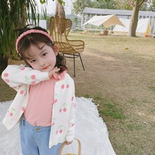 XINI MOMMY 2020 Autumn spring Full girl sweater cherry knit sweater toddler sweater cardigan baby girl sweater sweater Y15 sweater funk since 1776 sweater