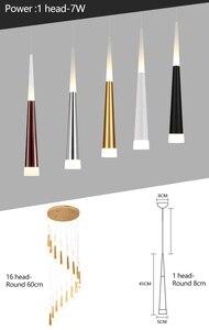 Image 4 - Led kolye lamba meteor uzun tüp lamba mutfak yemek odası dükkanı Bar dekorasyon silindir boru kolye ışık mutfak lambası ZDD0025